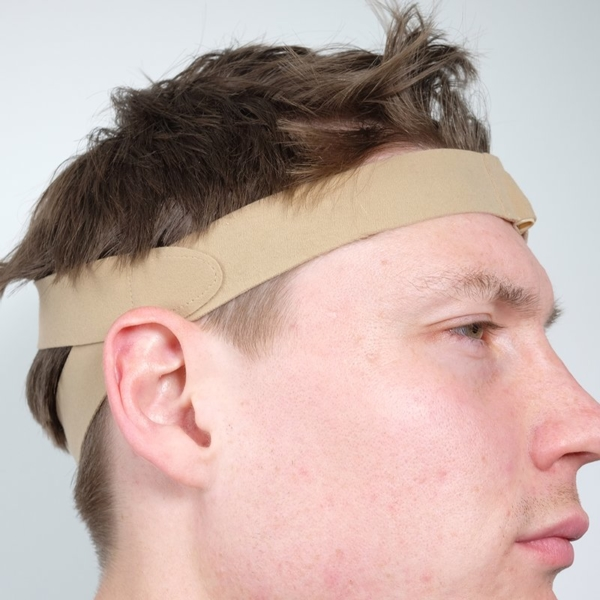 URSA Head Straps Side on Real Head Beige