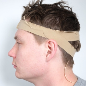 URSA Head Straps Side on Real Head Cable Beige